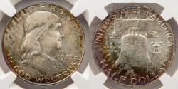 Us Coins - 1949 Benjamin Franklin 50c NGC 64 FBL, Full Bell Lines