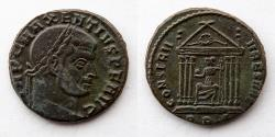 Ancient Coins - ROMAN EMPIRE: Maxentius, AD 308-310, 22 AE, 5.9g, Roma Seated in Hexastyle Temple