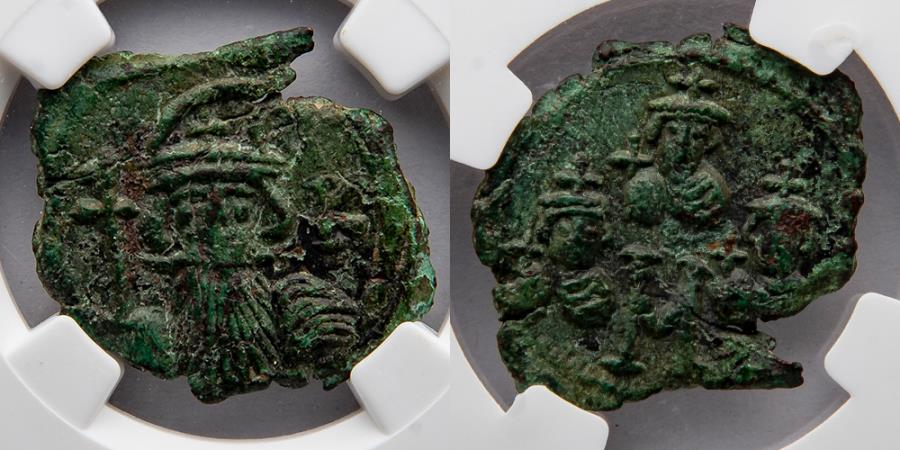 Ancient Coins - BYZANTINE EMPIRE: Constans II Pogonatus (AD 641-668), with Constantine IV, Heraclius, and Tiberius, AE Follis, 40 nummi (28mm), NGC XF, The Morris Collection