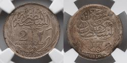 World Coins - EGYPT: AH 1335 (1917 H) Silver 2 Piastres Occupational Coinage, NGC MS 65