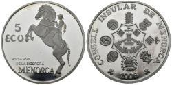 World Coins - SPAIN. 5 ECU. Menorca Biosphere Reserve. 1996 (Ar. 31.22g / 42.3mm). Proof