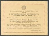 World Coins - Presentation Card of the II NUMISMATIC AND INTERNATIONAL MEDAL EXHIBITION, held in Madrid in November 1951.