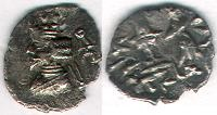 Ancient Coins - ITEM #47139 KINGS OF PERSIS, ARTAXERXES II (ARDASHIR) CA. 2ND HALF OF FIRST CENTURY BC AR obol, ALRAM 578 var., TYLER-SMITH 108, as small as it can get!!