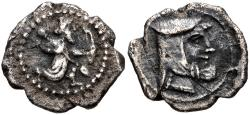 Ancient Coins - ITEM #1142, ANCIENT PERSIAN EMPIRE ACHAEMENID PERIOD, AR obol, Circa. 384-361 BC, SUNRISE 92, BMC 25,  EXTREMELY RARE  but affordable