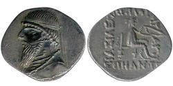 Ancient Coins - Item #19649, Parthian Empire Arsaces XI : Mithradates II (121-91 B.C), AR drachm, Sellwood #26.4 var., Shore 80, Rhagae mint, RARE coin, Extra Fine nice old dark toning
