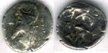 Ancient Coins - Item #4780, Kings of Persis, Darev II (Darius II) 100-1 BC AR obol, Alram 566, crescent on the crown, Tyler-Smith NC (2004) 36