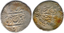 Ancient Coins - ITEM #34138, IRANIAN SILVER COIN, KARIM KHAN ZAND, ABBASI, TABRIZ (DATED 1182AH) TYPE C, KM #522, ALBUM 2800, VERY BROAD AND UNUSUAL FLAN