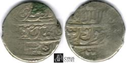 Ancient Coins - ITEM #32400 SAFAVID DYNASTY: SHAH SULTAN HUSSEIN (AH 1105-1135) SILVER ABBASI, mint off flan, DATED AH1113 (AD1702), ALBUM #2674 TYPE B, SCARCE date & type