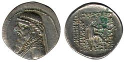 Ancient Coins - Item #19651, Parthian Empire Arsaces XI : Mithradates II (121-91 B.C), AR Drachm, Sellwood #27.1, Shore 85, Rhagae mint, good XF
