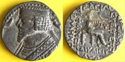 Ancient Coins - Item #19639, Parthian Kings: Arsaces XXIII: Phraataces / Phraates V (2 BC- AD 4), AR tetradrachm, Sellwood #57.12, Seleucia mint, SCARCE (January 1 BC) rare type