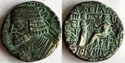 Ancient Coins - Item #19632, KINGS OF PARTHIA: VOLOGASES I (CA 51-78 AD). BI TETRADRACHM FROM SELEUCIA MINT, (AD JULY 51) Sellwood 68.8, SHORE 370