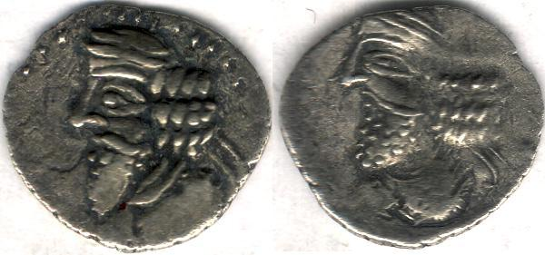 Ancient Coins - Item #47120 Kings of Persis, Pakor I ca. 1st half of first century AD AR obol, Alram 590, Tyler-Smith NC (2004) #155, two sided images of kings, A nice scarce impressive example of this type!!