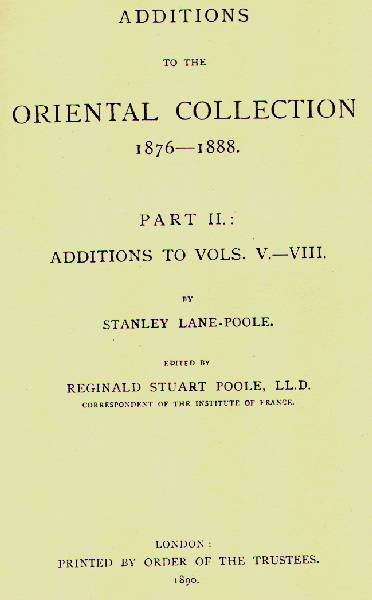 Ancient Coins -  Item 3978, Stanley Lane Poole's Catalog of Oriental coins VOL 10 (ADDITIONS to the Oriental Collection 1876-1888) O/P RARE 1967 Vols. V to VIII