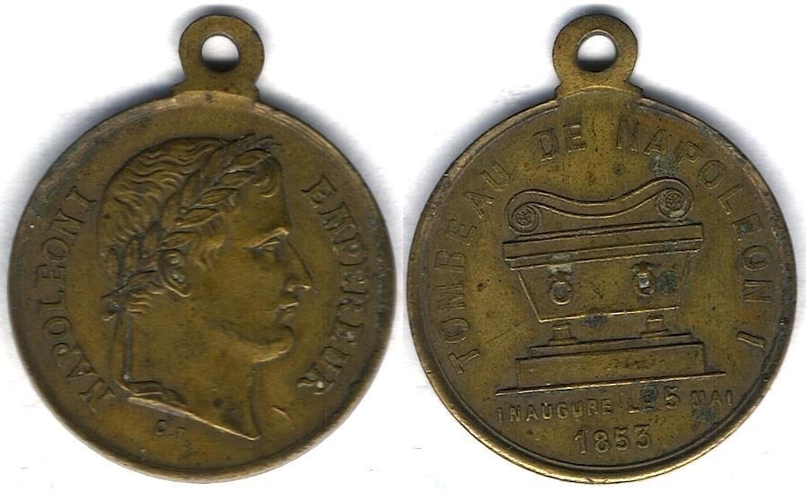 Ancient Coins - Item #1919, France brass medallion - Tombeau de Napoléon inauguré 1853 - Louis Philippe 23.3mm (4.69 gr.) EXTRA FINE