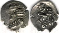 Ancient Coins - Item #47125 Kings of Persis, Pakor I ca. 1st half of first century AD AR obol, Alram 590 var., Tyler-Smith NC (2004) #152 var., two sided images of kings, with king's name on obverse! Rare piece!!