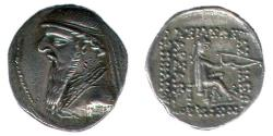 Ancient Coins - Item #19653, Parthian Empire Arsaces XI : Mithradates II (121-91 B.C), AR Drachm, Sellwood #27.1, Shore 85, Rhagae mint, good XF+, Struck after 109 BC