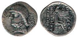 Ancient Coins - ITEM #19647, KINGS OF PARTHIA PHRAATES II 132-127 BC., DRACHM (AR) NISA MINT ( ΝΙϹΑΙΑ), SELLWOOD 16.9, SHORE 49, VERY RARE, probably issued 129-127 BC