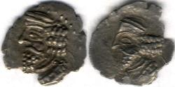 Ancient Coins - Item #47127 Kings of Persis, Pakor I ca. 1st half of first century AD AR obol, Alram 590, Tyler-Smith NC (2004) #167, two sided images of kings, dark toning