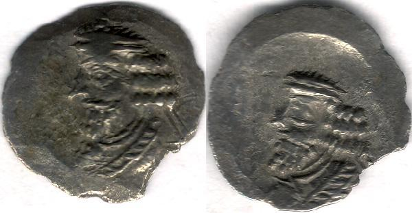 Ancient Coins - Item #47129 Kings of Persis, Pakor I ca. 1st half of first century AD AR obol, Alram 595, Tyler-Smith NC (2004) N/A, two sided images of kings, broader flan, SCARCE TYPE