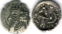 Ancient Coins - Item #47104 Kings of Persis, Nambed (Namopat) circa AD 25-75 AR obol, Alram 602, Tyler-Smith NC (2004) #183 star & crescent on reverse, SCARCE