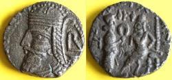 Ancient Coins - Item #19640, KINGS OF PARTHIA: VOLOGASES VI CA 208-228 AD. BI tetradracm;  Seleucia MINT. Sellwood 88.3-4 dated SE 521 (AD 208-9) (month off flan)