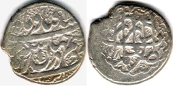 Ancient Coins - ITEM #34114, IRANIAN SILVER COIN, KARIM KHAN ZAND, 2-ABBASI, SHIRAZ MINT, AH 1182/AD 1768, TYPE C, KM #523, ALBUM 2796.