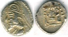 Ancient Coins - Item #4779, Kings of Persis, Darev II (Darius II) 100-1 BC AR obol, Alram 567, crescent on the crown, Tyler-Smith NC (2004) 36