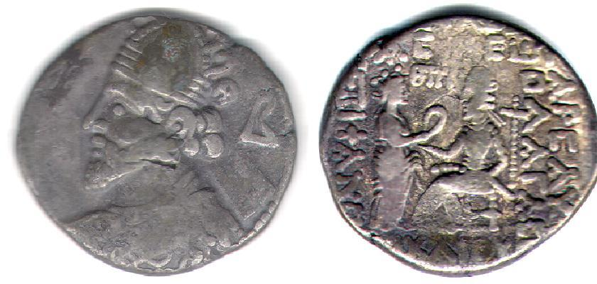 Ancient Coins - Item #19629, KINGS OF PARTHIA: VOLOGASES II (CA 77-80 AD). BI TETRADRACHM FROM SELEUCIA MINT, (AD 77/78) Sellwood 72 letter B, scarce type