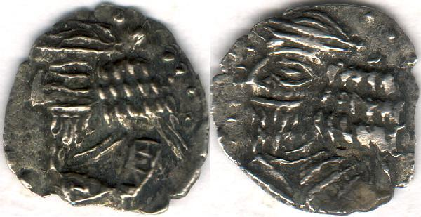 Ancient Coins - Item #47119 Kings of Persis, Pakor I ca. 1st half of first century AD AR obol, Alram 590, Tyler-Smith NC (2004) #155-77,two sided images of kings, A nice scarce impressive example of this type!!