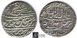 World Coins - Item #32388 Safavid (Persian Dynasty) Tahmasp II (AH 1135-1145) Silver abbasi, minted in Tabriz dated in AH 1143 (AD 1730), Album 2689.1, KM #303, ZENO 92469, CAPITAL RE-TAKEN