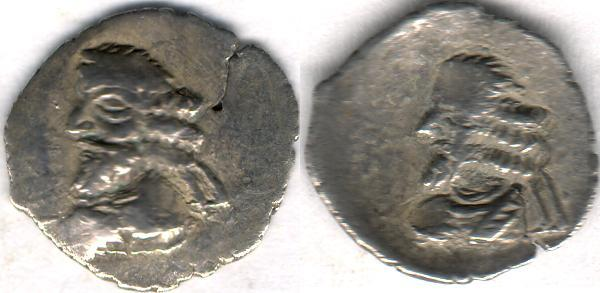 Ancient Coins - Item #47131 Kings of Persis, Pakor I ca. 1st half of first century AD AR obol, Alram 595, Tyler-Smith NC (2004) N/A, two sided images of kings, broader flan, SCARCE TYPE