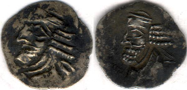 Ancient Coins - Item #47124 Kings of Persis, Pakor I ca. 1st half of first century AD AR obol, Alram 590, Tyler-Smith NC (2004) #167, two sided images of kings, A nice affordable example of this type!!