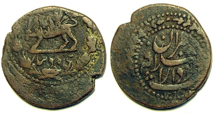 World Coins - Item #4520, Persian civic copper coin, Qajar falus (fulus) 50 dinars, dated 1293AH, Lion holding sword within wreath, scarce