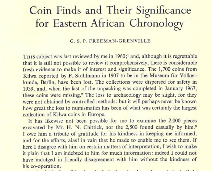 Ancient Coins - Item 3967, Original Off-prints Coin Finds and Their Significance for Eastern African Chronology by G. S. P. Freeman-Grenville Published in The Numismatic Chronicle Vol. XI (1971) 1