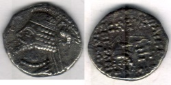 Ancient Coins -  Item #19602, Parthian Phraates IV (38 - 2 B.C), AR drachm, Sellwood #52.31, Shore --, Court at Susa mint, RARE and very hard to find