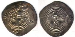 Ancient Coins - ITEM #20182 SASANIAN (ANCIENT Persia), KHUSRU (PARVIZ) II (AD 591-628), AR DRACHM, RD for REYY, regnal year 30 DATED AD 621, SELLWOOD 63var., GÖBL SN II/3 (G-216), AFFORDABLE PIECE