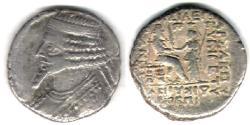Ancient Coins - ITEM #19627, KINGS OF PARTHIA, Tiridates ca. 29-27 BC., BI TETRADRACHM MINTED IN SELEUCIA, SELLWOOD type 55.11 dated April (27 BC), Scarce/Rare