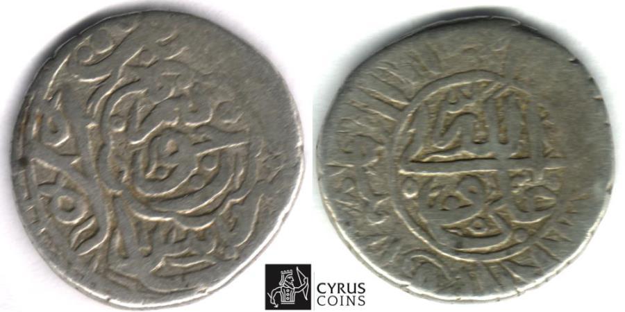 World Coins - ITEM #32357, SAFAVIDS (PERSIAN DYNASTY) SHAH ABBAS I, THE GREAT (AH 995-1038) SILVER 2-shahi, Huwayza MINT, ALBUM 2635.1 (type B) Zeno 42244, local mint in Khuzistan