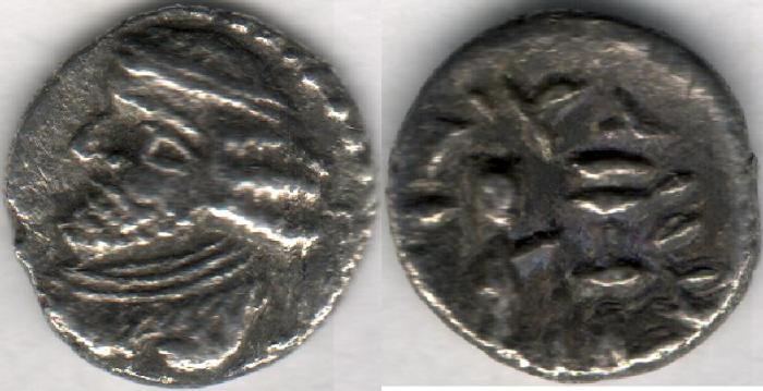 Ancient Coins - Item #47109 Kings of Persis, VAHSHIR (Oxathres) ca. 2nd half of first century BC, AR hemidrachm, Alram 580, Tyler-Smth CN (2004) #134