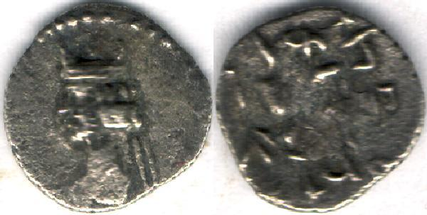 Ancient Coins - Item #4797 Kings of Persis, Artaxerxes II (Ardashir) ca. 2nd half of first century BC AR OBOL, Alram 572/5, A NICE BLACK TONING!! SCARCE