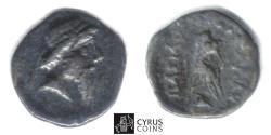 Ancient Coins - Item#19654, KINGS OF PARTHIA, MITHRIDATES I (CA 164-132 BC). AR silver obol, Ecbatana MINT, Sellwood 12.4, SHORE 30, SUNRISE --, RARE (hard to find)