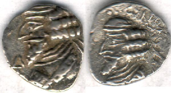 Ancient Coins - Item #47122 Kings of Persis, Pakor I ca. 1st half of first century AD AR obol, Alram 594 var., Tyler-Smith NC (2004) #154, two sided images of kings, with a rare symbol!