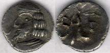Ancient Coins - Item #47110 Kings of Persis, VAHSHIR (Oxathres) ca. 2nd half of first century BC, AR hemidrachm, similar to Alram 586, Tyler-Smth CN (2004) N/A, UNIQUE Symbol on OBVERSE!!