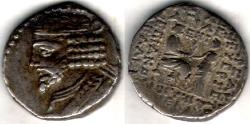 Ancient Coins - Item #19644, Parthian Empire Vardanes I (A.D. 40-45), BI tetradrachm, Sellwood type 64.21, Shore 350, minted in Seleucia, fully dated Apellaios 355 = (Nov/Dec. AD 43)