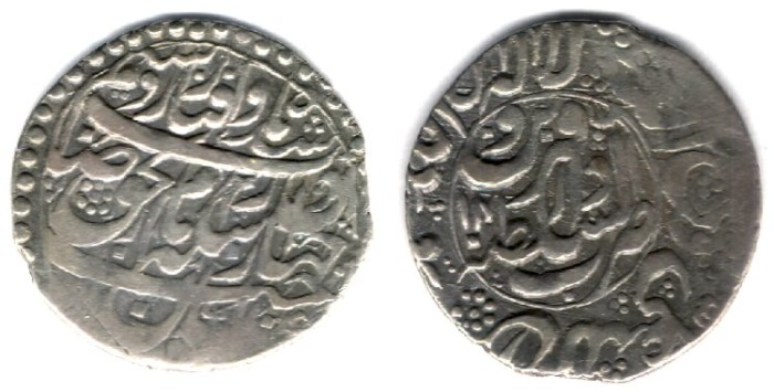 World Coins - Item #3466, Persian silver coin, Karim Khan Zand, Abbasi, Qazvin (1170AH) Type E, KM #532. Album 2802, Very Rare
