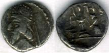 Ancient Coins - Item #4784, Kings of Persis, Darev II (Darius II) 100-1 BC AR obol, Alram 566, crescent on the crown, Tyler-Smith NC (2004) 36