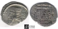 Ancient Coins - Item #19683, KINGS OF PARTHIA: VOLOGASES I (51-78 AD). AR DRACHM (18X22MM; 3.32 Gr.) ECBATANA MINT, Sellwood 71.1, Shore 377, Affordable piece of history