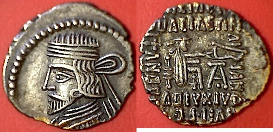 Ancient Coins - ITEM #19617, KINGS OF PARTHIA. VARDANES I. CIRCA 40-47 AD. AR DRACHM. ECBATANA MINT, SELLWOOD 64.31, SHORE 353, ASSAR 414, good extra fine