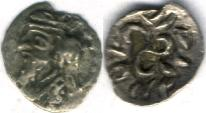Ancient Coins - Item #47102 Kings of Persis, Pakor II ca. 1st half of first century AD AR obol, Alram 598, Tyler-Smith NC (2004) #179, Triskeles on reverse!!