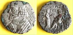 Ancient Coins - Item #19641, KINGS OF PARTHIA: VOLOGASES I (CA 51-78 AD). BI TETRADRACHM FROM SELEUCIA MINT, dated SE 363 (AD 51/52) Sellwood 68.4-8, SHORE 370